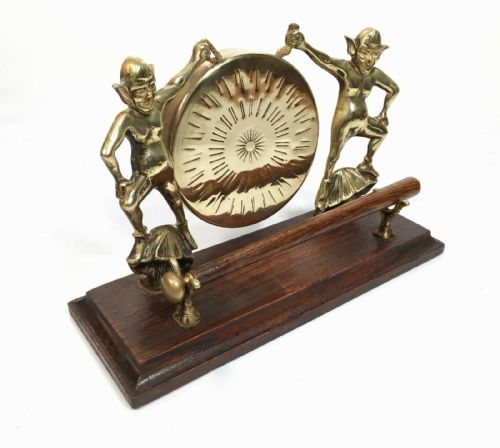 Antique Vintage Pixies Imp Troll Fairytale Brass And wood Hallway Dinner Gong